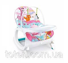 Детский шезлонг-качалка 7188/7288 Виброблок 10 мелодий, дуга с подвесками (2 шт) столик съемный. 2 цвета