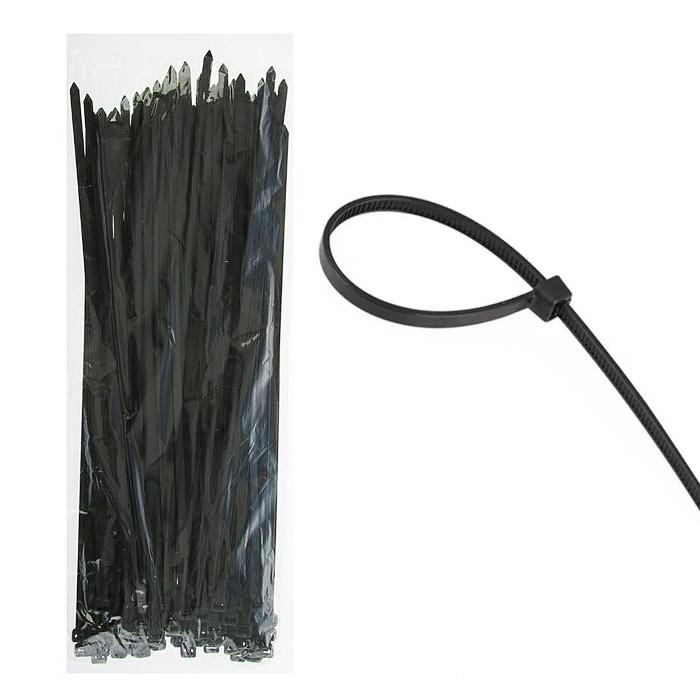 Стяжка монтажная кабельная, хомут 4мм х 200мм черная 100шт