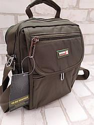 Качественная Мужская вертикальная сумка через плечо из плотной ткани (Зеленый цвет)
