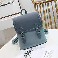 Женский рюкзак с застежками голубой, фото 1