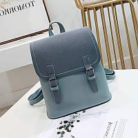 Женский рюкзак с застежками голубой