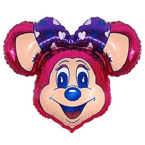Фольгированный шар Мышка с бантом 29см х 37см Малиновый