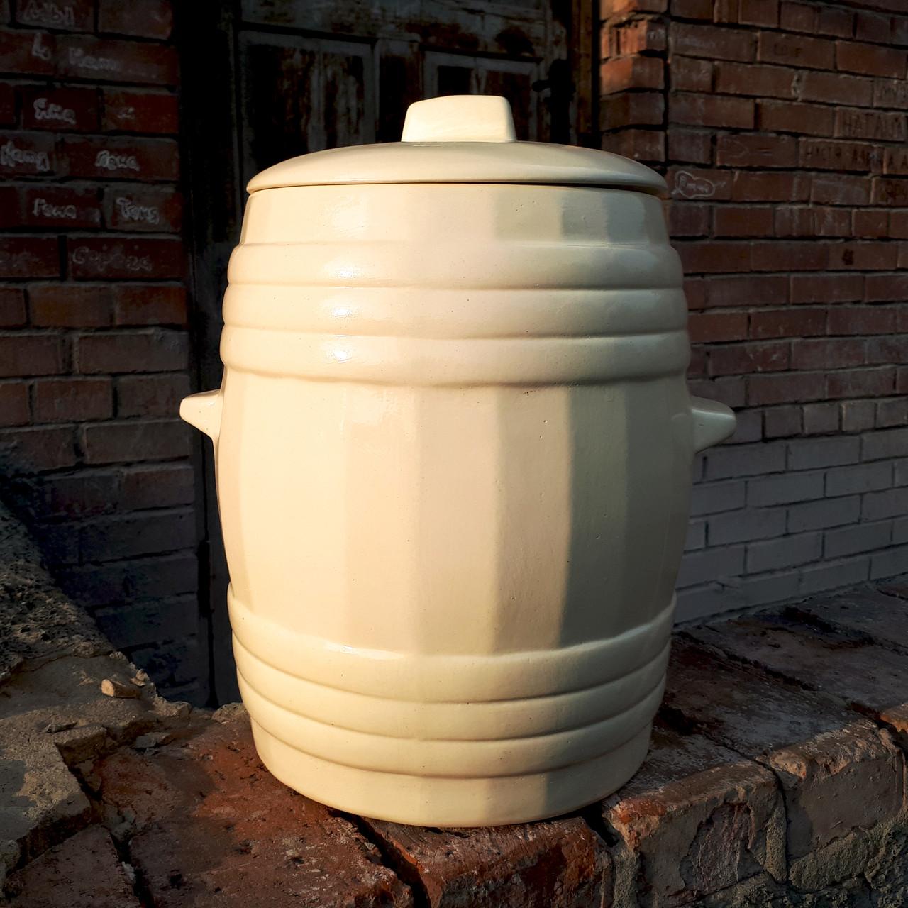 Бочка керамическая для солений 22 л Белый цвет