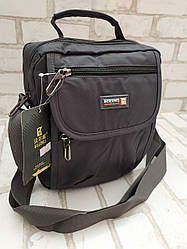 Качественная Мужская вертикальная сумка через плечо из плотной ткани (Серый цвет)