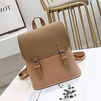 Женский рюкзак с застежками бежевый