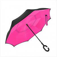 Ветрозащитный зонт обратного сложения Up-Brella фуксия. Зонт наоборот (обратный зонт, антизонт).