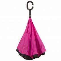 Ветрозащитный зонт обратного сложения Up-Brella фуксия. Зонт наоборот (обратный зонт, антизонт)., фото 3