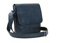 Мужская кожаная сумка  GS c декоративной строчкой черная