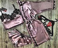 Набор халат+пижама(майка и шорты), атлас с кружевом.