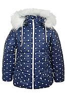 Зимняя куртка на девочку курточка детская зима на овчине 3-6 лет синий сердечки, фото 1