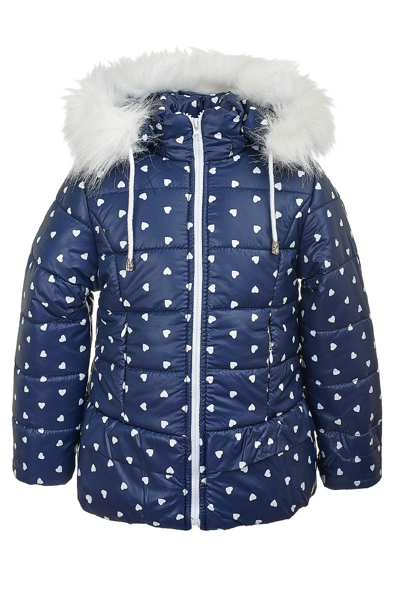 Зимняя куртка на девочку курточка детская зима на овчине 3-6 лет синий сердечки