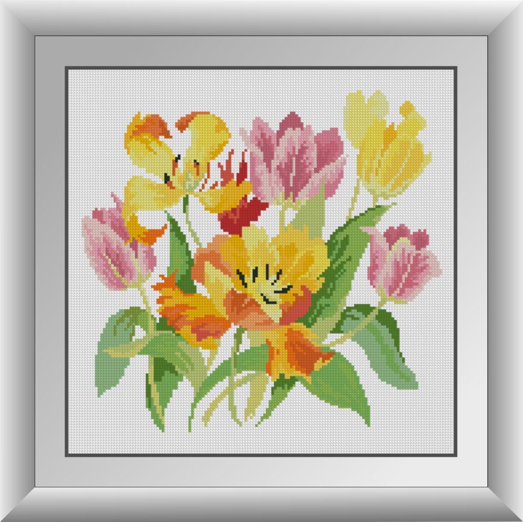 Мозаика камнями Славные тюльпаны Dream Art 30860 (36 x 36 см)