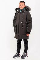 Зимняя удлиненная куртка с натуральным мехом для мальчика