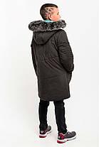 Зимняя удлиненная куртка с натуральным мехом для мальчика, фото 2