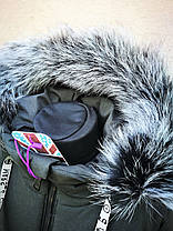 Зимняя удлиненная куртка с натуральным мехом для мальчика, фото 3