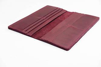 Кошелек Лонг на 12 карт Винтажная кожа цвет Бордо