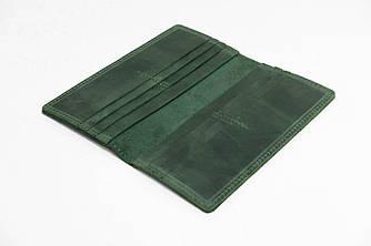 Кошелек Лонг на 12 карт Винтажная кожа цвет Зеленый
