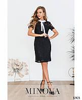 Скромное гипюровое платье с белым воротником-бант с 44 по 50 размер