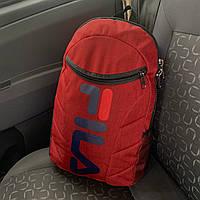 Рюкзак в стилев стиле FILA городской,спортивный,мужской,женский,для ноутбука красный меланж