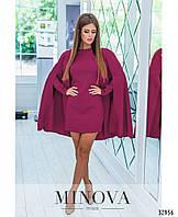 Короткое прямое платье с длинными рукавами в комплекте с накидкой с 42 по 46 размер