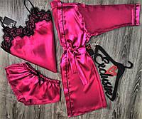 Малиновый халат+пижама(майка и шорты).