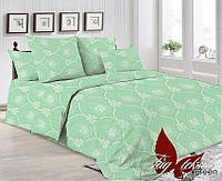 Постельное белье Евро комплект , хлопок 100% Ранфорс R7005 green