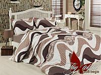 Комплект постельного белья Ранфорс семейный 2 пододеяльника TAG R6958 begie