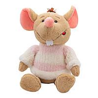 Мягкая игрушка КРЫСА в свитере бело-розовом, 29 см. (M1810029B-1)