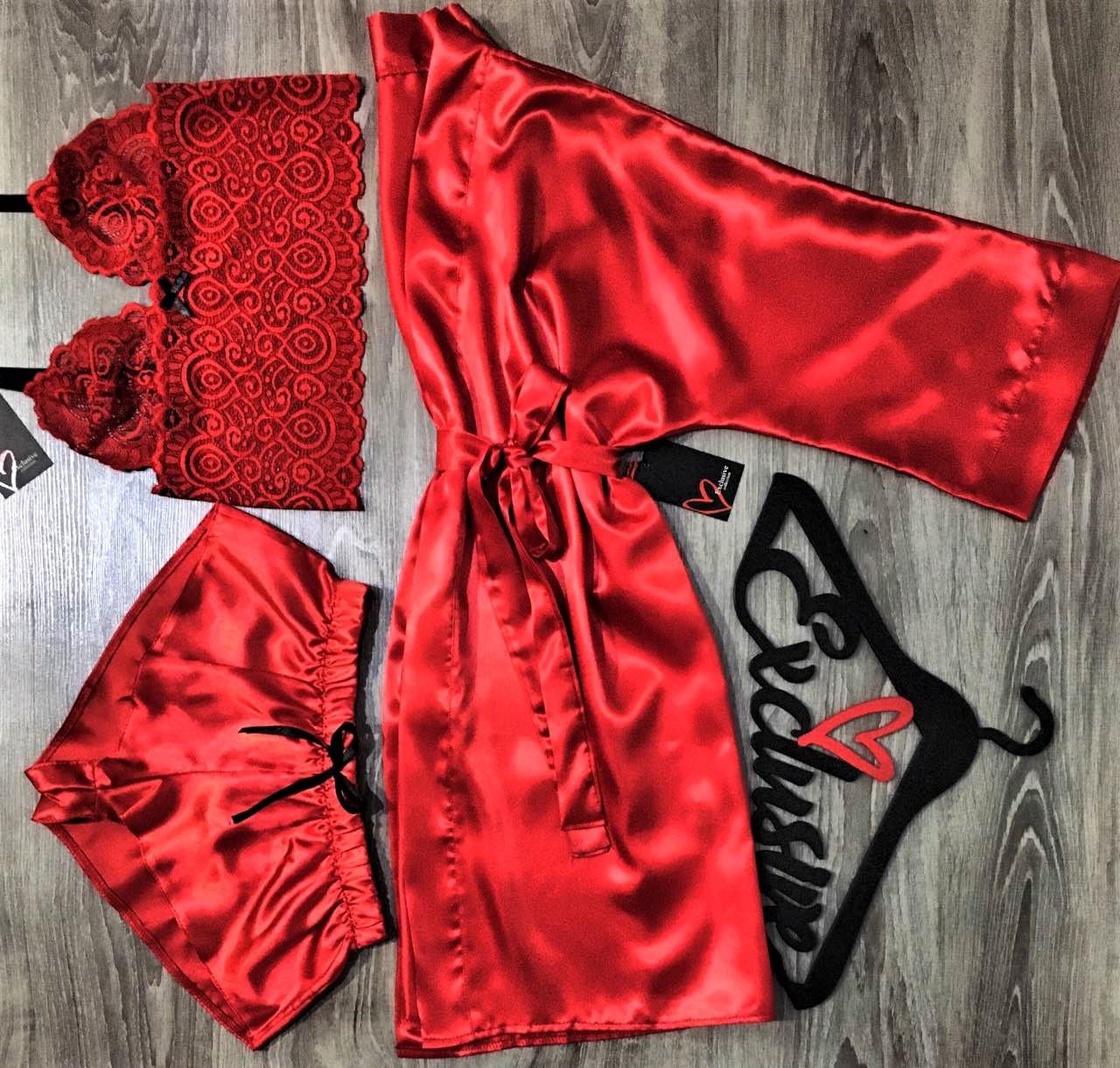 Красный молодежный набор халат+кружевной топ+шорты.