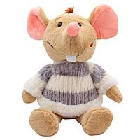 Мягкая игрушка КРЫСА в свитере бело-сером, 29 см. (M1810029B-2)