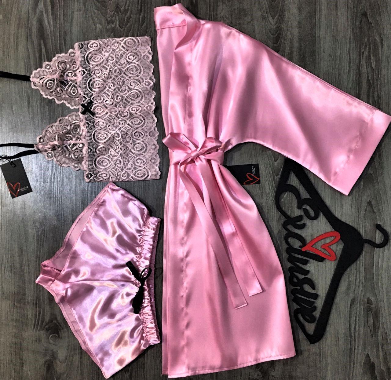 Розовый халат+кружевной топ+шорты-комплект домашней одежды.