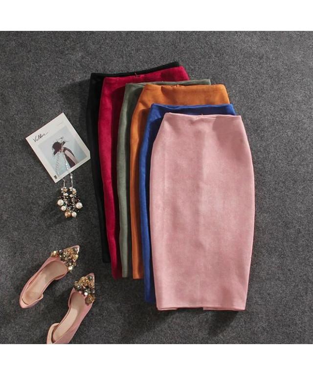 женская замшевая юбка карандаш
