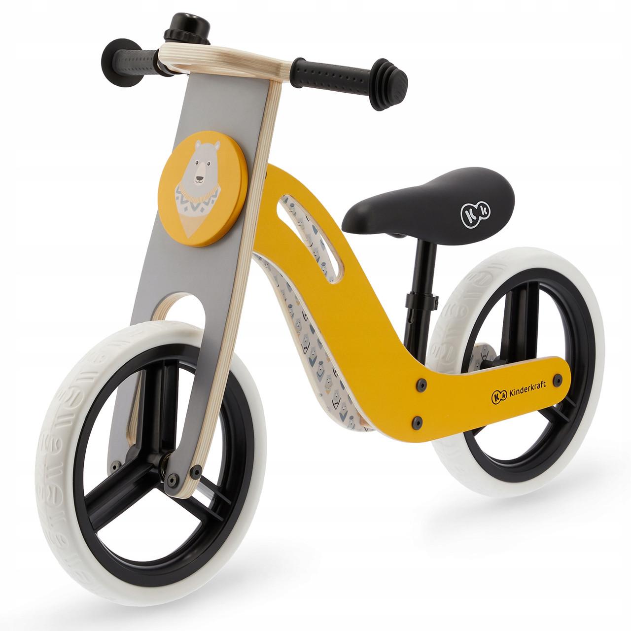 Велобег детский деревянный Kinderkraft Uniq жёлтый (беговел, самокат-беговел, детский транспорт)