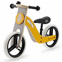Велобег детский деревянный Kinderkraft Uniq жёлтый (беговел, самокат-беговел, детский транспорт), фото 1