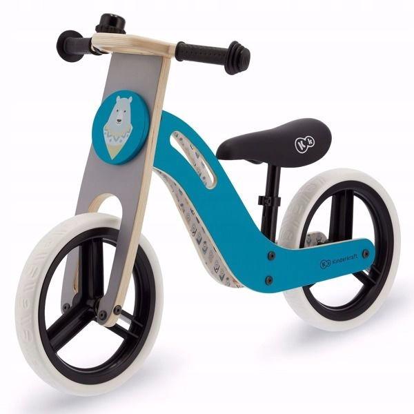 Велобег детский деревянный Kinderkraft Uniq голубой (беговел, самокат-беговел, детский транспорт)