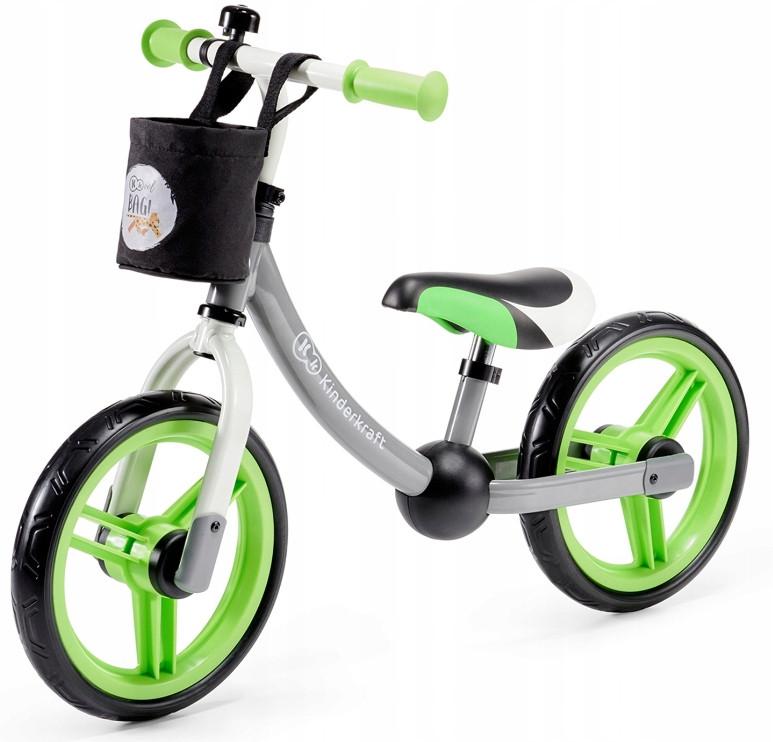 Велобег Kinderkraft 2WAY NEXT с корзинкой,серо-зелёный (беговел, самокат-беговел, детский транспорт)