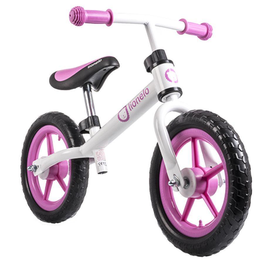 Велобег детский Lionelo Fin бело-розовый (беговел, самокат-беговел, детский транспорт)