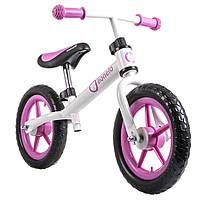 Велобег детский Lionelo Fin бело-розовый (беговел, самокат-беговел, детский транспорт), фото 1