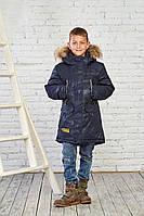 Зимняя куртка на мальчика курточка детская подростковая зима 152 р синий камуфляж, фото 1