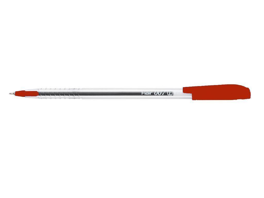 Ручка шариковая красная 007 Ultra прозрачный корпус