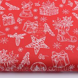 """Ткань новогодняя """"Рождественский носок с подарками и колокольчиками"""" на красном, №2440"""