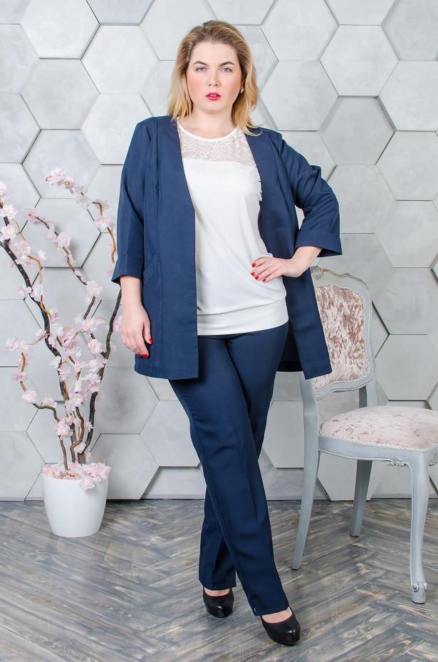 Женский костюм  размер плюс жакет + брюки Джудит темно-синий (52-62)