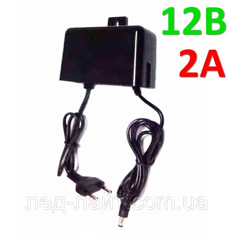 Блок питания (адаптер) 12В 2А 24Вт в пластиковом влагозащищённом корпусе