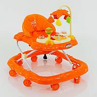 Детские ходунки музыкальные модель D28, оранжевые - 153132