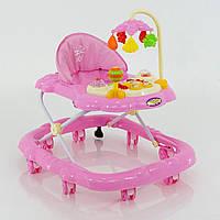 Детские ходунки музыкальные модель D28, розовые - 155819