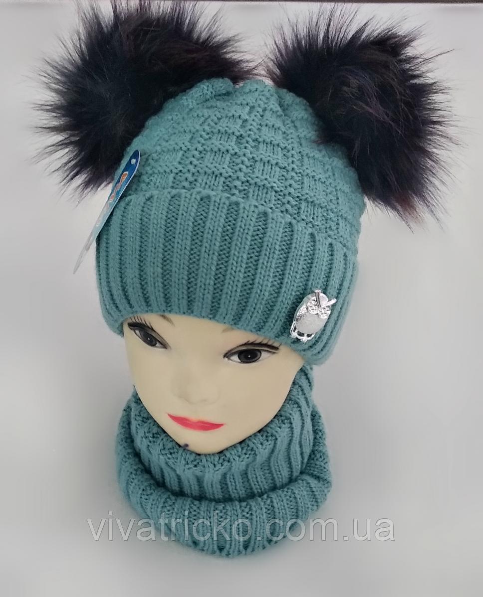 М 5081 Комплект для дівчинки шапка з двома помпонами+манішка, кашемір, фліс