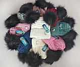 М 5081 Комплект для дівчинки шапка з двома помпонами+манішка, кашемір, фліс, фото 2