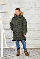 Зимняя куртка на мальчика курточка детская подростковая зима 152,158 хаки камуфляж