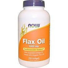 """Льняное масло NOW Foods """"Flax Oil"""" 1000 мг, здоровье сердечно-сосудистой системы (250 гелевых капсул)"""
