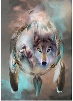 Алмазная вышивка 5D, Волки,полная выкладка 40*30